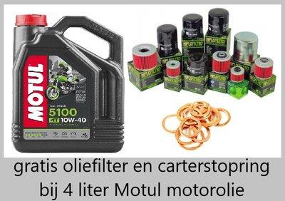 Motul 5100 motorolie 10w40 met gratis oliefilter Semi Sinthetisch 4 liter